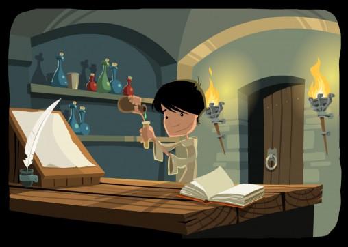 ilustaracja piwnicy alchemika