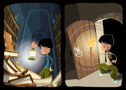 ilustaracja starej biblioteki