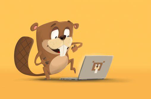 Bóbr włącza laptopa