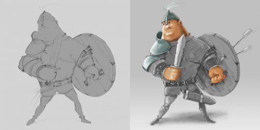 zabawna postać rycerza o imieniu Cekca